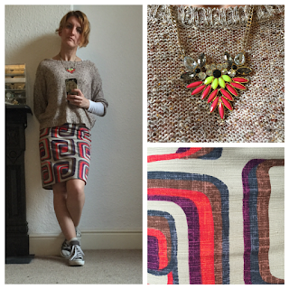 Gold knit top and Boden retro print skirt