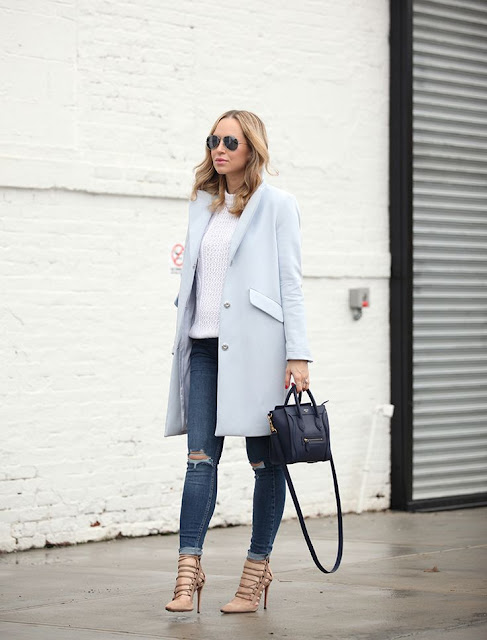 Brooklyn Blonde - Aquazzura Lace Up Heels + Celine Bag + Long Coat