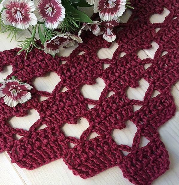Tina 39 S Handicraft Crochet Shawl Heart Stitch Shape