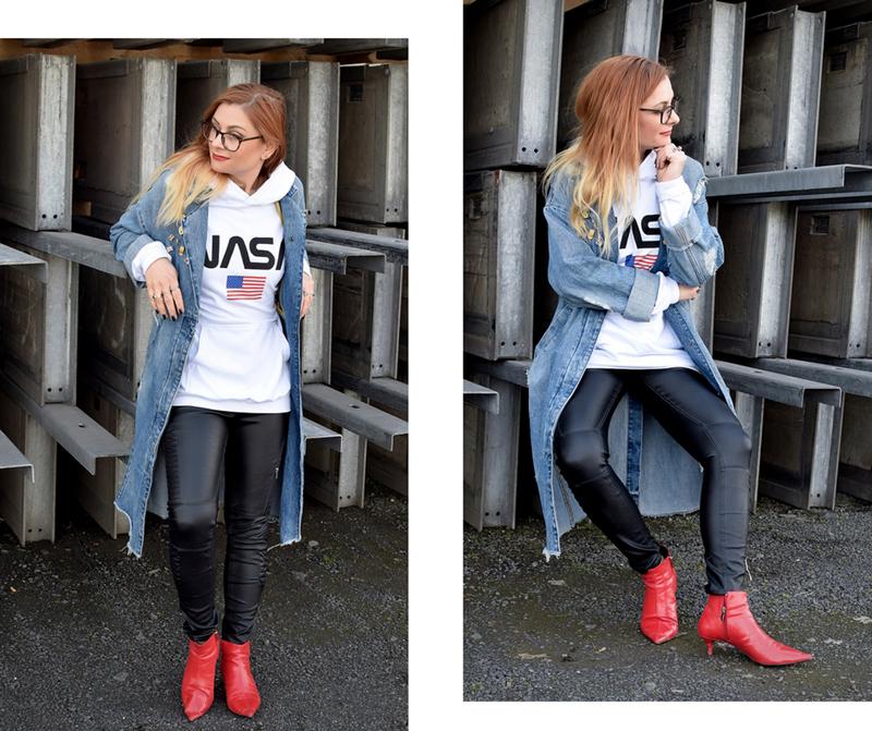 Statementhoodie mit Nasa Print, Nasa Aufdruck, rote Schuhe, Stiefel,