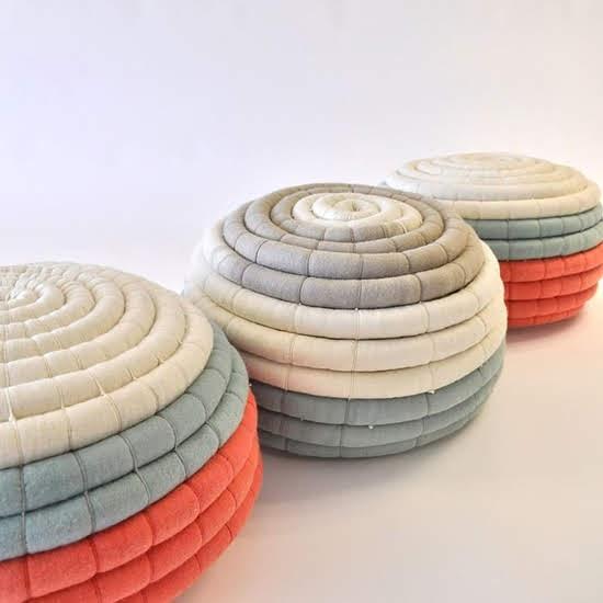 Safari Fusion blog | Living coral | Pantone Color of the Year 2019 | South African designer Ronel Jordaan's Felt Ottomans