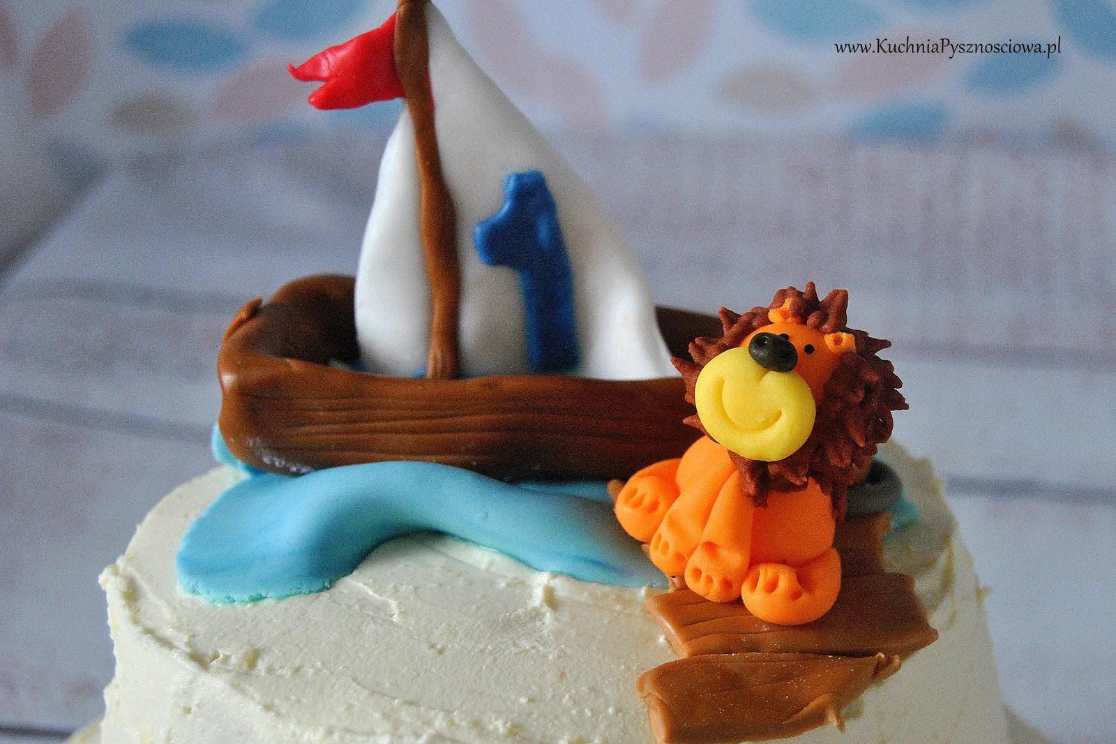 Tort żeglarski z lwem na pierwsze urodziny