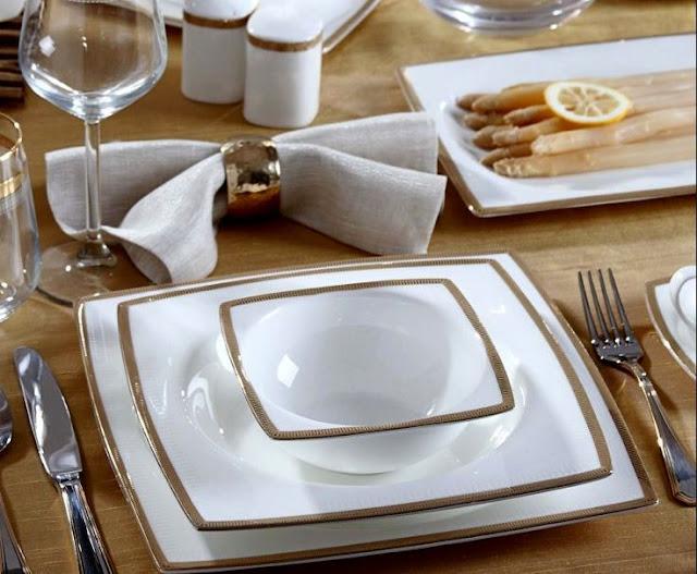 Geschirr Set Weiß Eckig