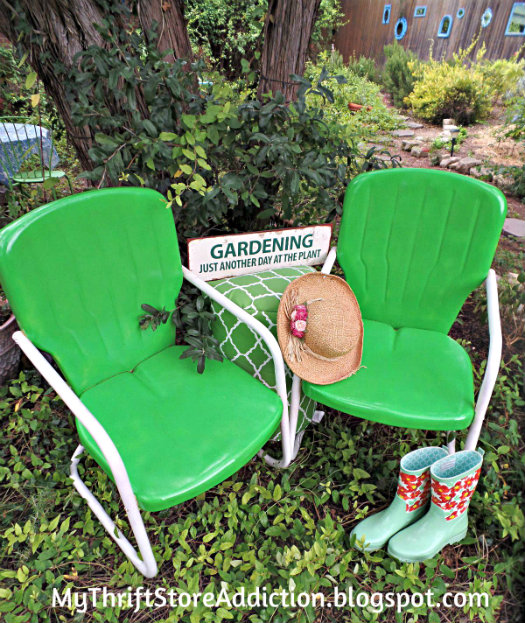 Upcycled vintage lawn chairs