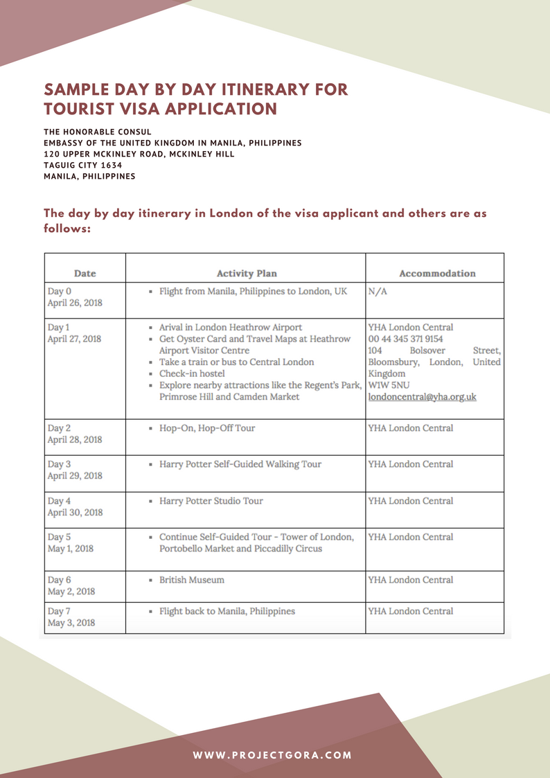 Project Gora: Sample Day by Day Itinerary for UK Tourist Visa