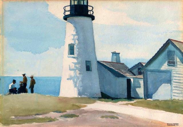 Cette aquarelle représente un phare au pied duquel quelques marins bavardent.