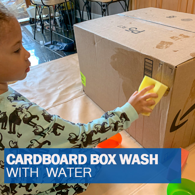 Toddler Roved Cardboard Box Paint And Wash With Water