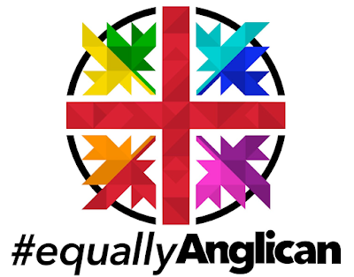 #equallyAnglican logo designed by philip hamilton. Red cross in black circle, with four multi-coloured leaves, one in each quadrant