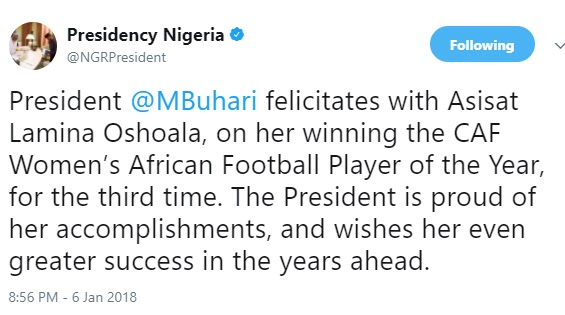 Muhammadu Buhari's tweet to Asisat Oshoala