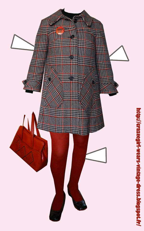 vintage red white black checked houndstooth coat , red black vinyl diamond bag , square black red patent brogues chunky heels 1960 1970 60s 70s annees 60 70 manteau sac