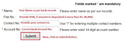 HDFC Cheque and Cash Deposit Slip