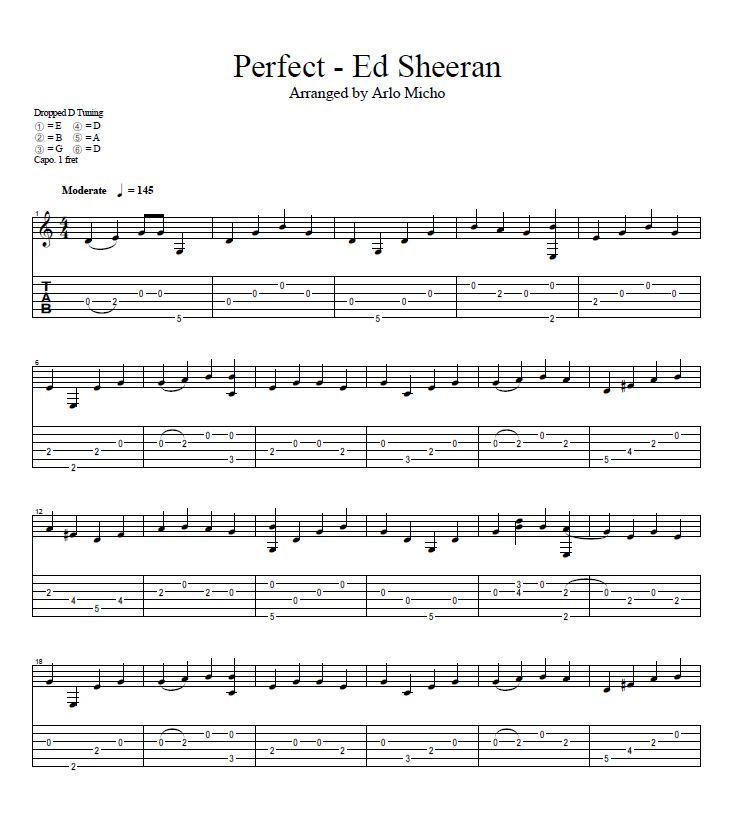 Perfect - Ed Sheeran Guitar Tabs | Arlo Micho Tabs