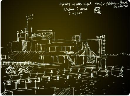 sketsa di atas kapal menuju Perak