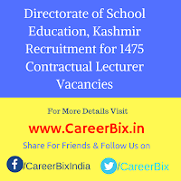 Directorate of School Education, Kashmir Recruitment for 1475 Contractual Lecturer Vacancies