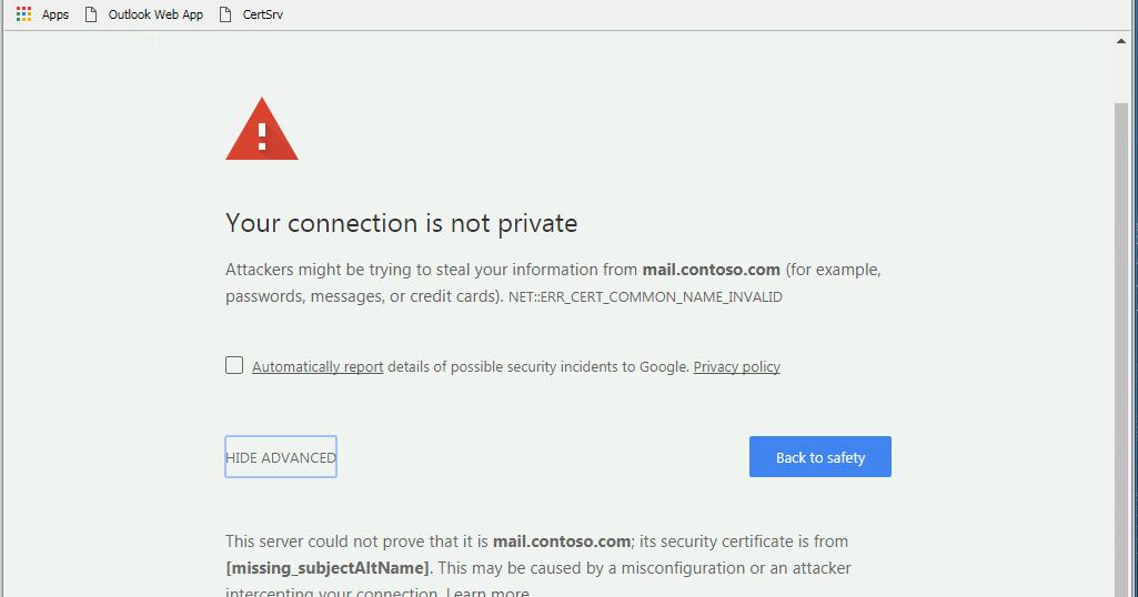 Fix for Certificate Error in Chrome - NET ...