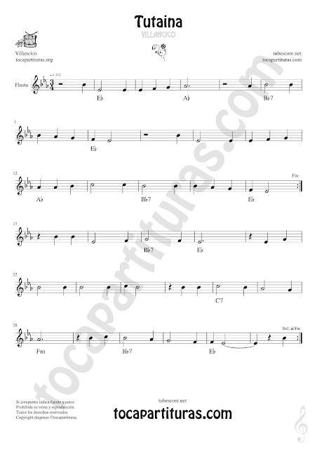 Flauta Travesera, flauta dulce y flauta de pico Partitura de Tutaina Villancico Sheet Music for Flute and Recorder Music Scores