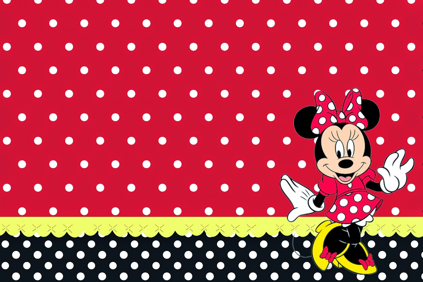 Minnie Red, Black, Yellow And Polka Dots: Free Printable