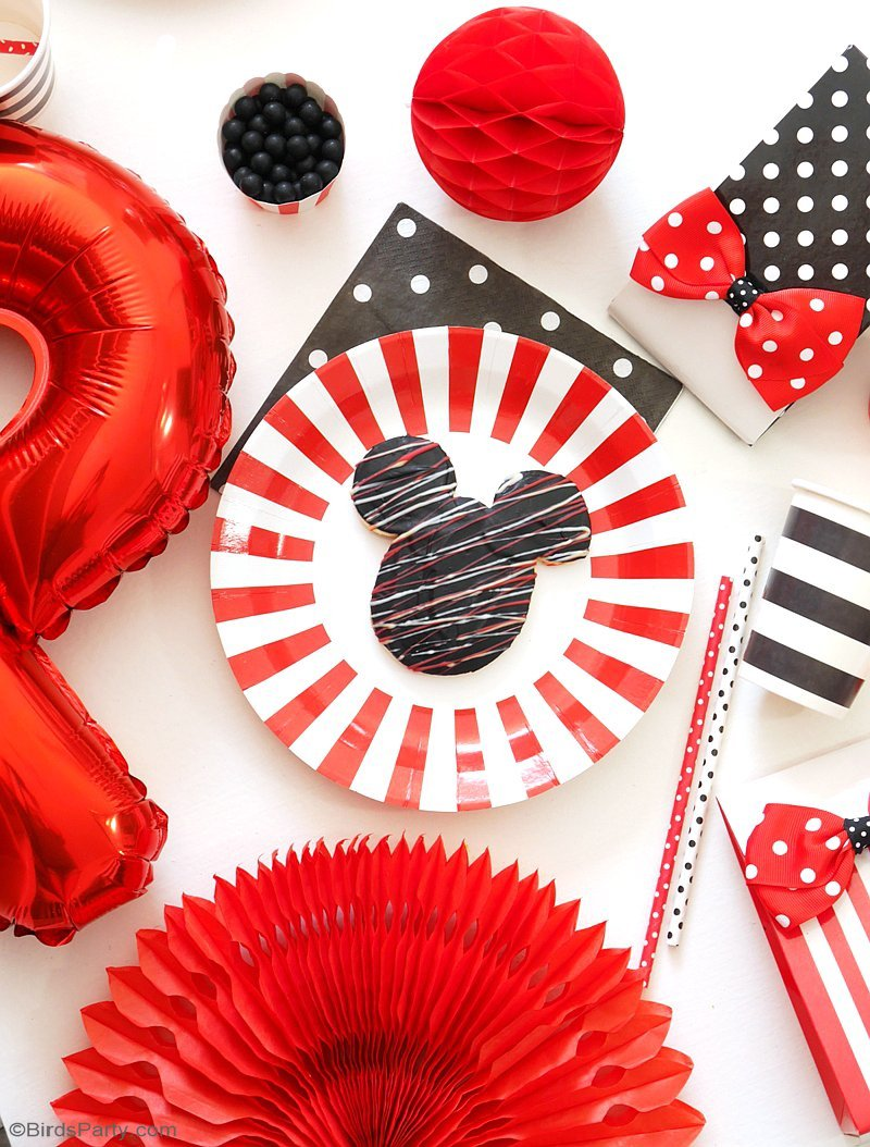 A Charming Mickey & Minnie Inspired Party - easy, DIY and creative ideas on decorations, food and party favors and activities for girls! by BirdsParty.com @birdsparty