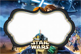 Para hacer invitaciones, tarjetas, marcos de fotos o etiquetas, para imprimir gratis de Star Wars Lego.