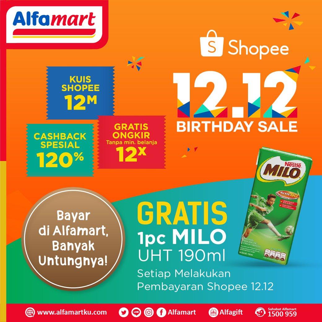 Alfamart - Promo Bayar Shopee Gratis 1PC Milo UHT 190ml