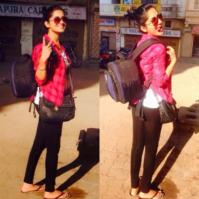 mai or mera camera bag 😝 ready to pose !!, Ruhani Sharma Hot Pics, Punjabi Model Ruhani sharma Selfie Image Gallery