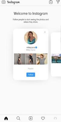 Tampilan akun baru di instagram