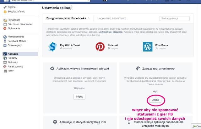prywatność aplikacje ustawienia facebook