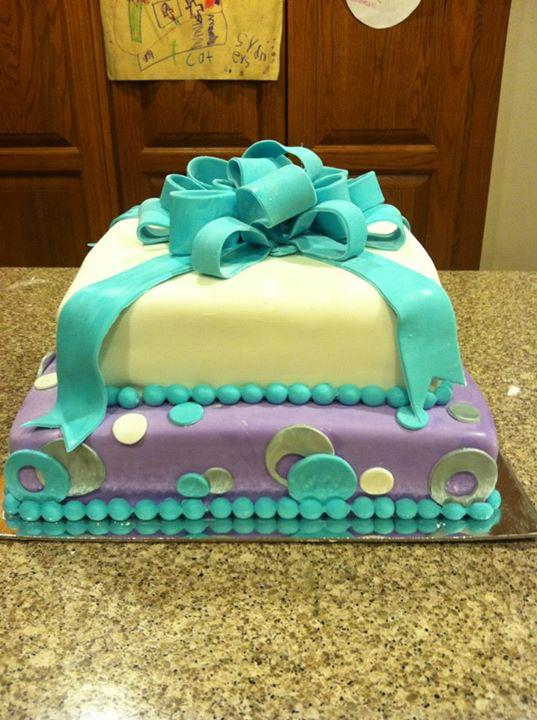 Katrina S Custom Cakes Turquoise And Purple Birthday Cake