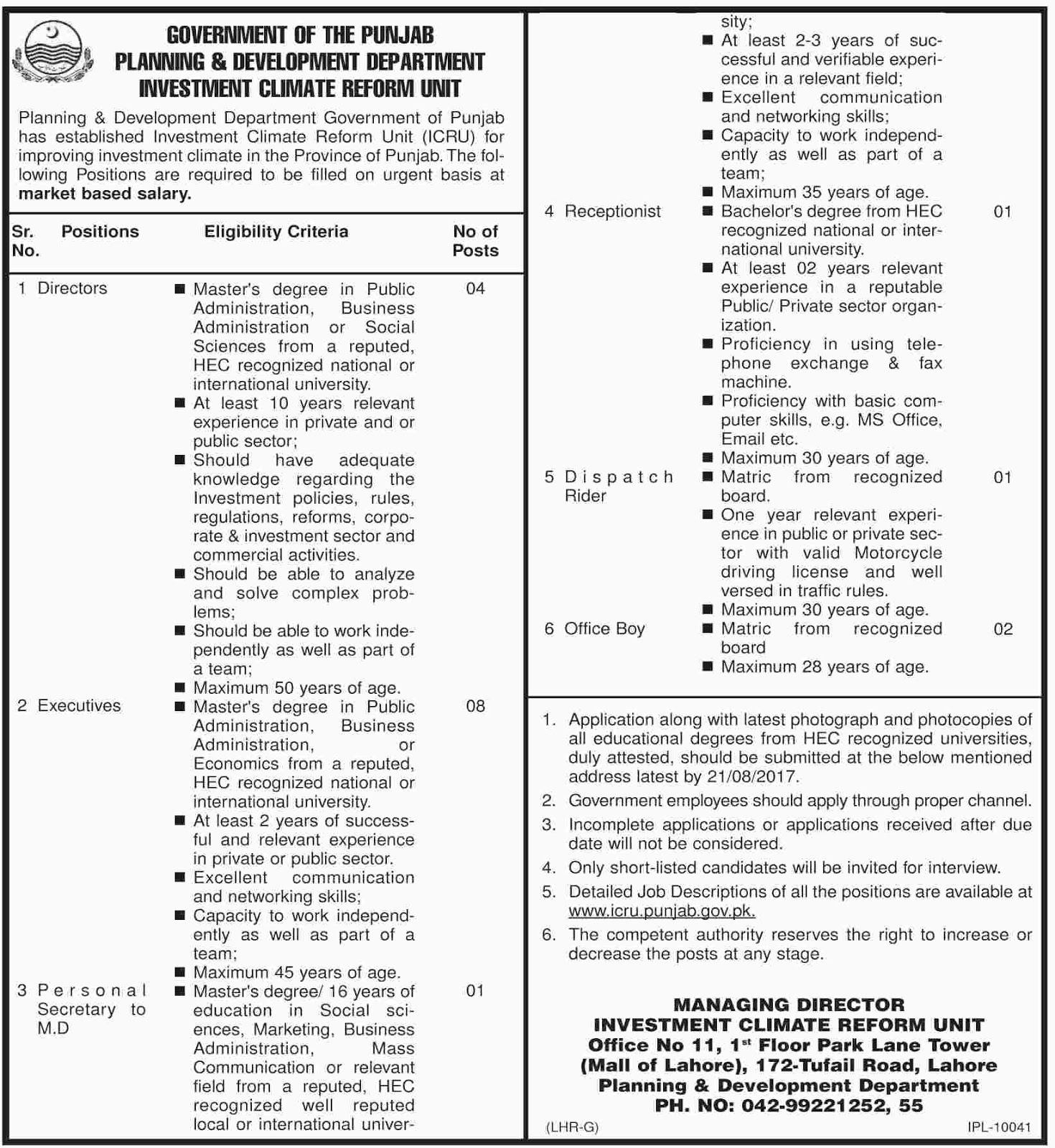 Jobs In Planning And Development Department Lahore Tufail Road 2 Aug 2017