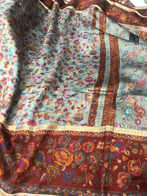 Grey chinar and paisley kani saree