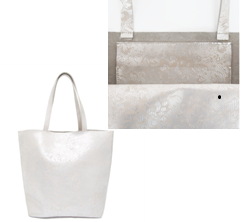 SILVER LACE LEATHER TOTE