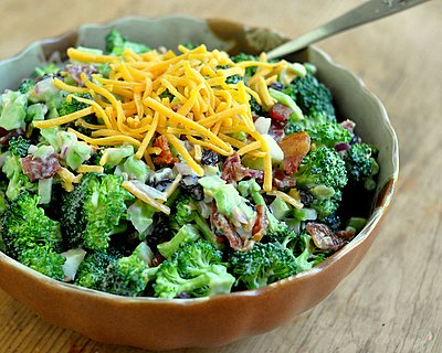 Broccoli, Bacon & Raisin Salad with Cheddar, a popular potluck salad ♥ AVeggieVenture.com, except fresher and lighter and almost virtuous. Great Crunch. Crowd Favorite. Perfect for Potlucks.