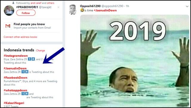 Tagar #instagramdown Trending Topic, #JaenudinDown Menyusul