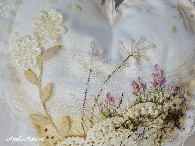 detail of embroidered fabric and lace heart Early Spring by AppleApricot