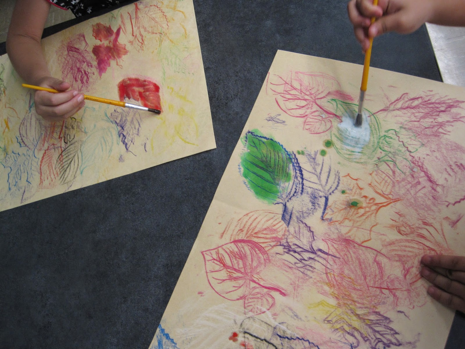 Zilker Elementary Art Class: Kinder Free Form Leaf Paintings