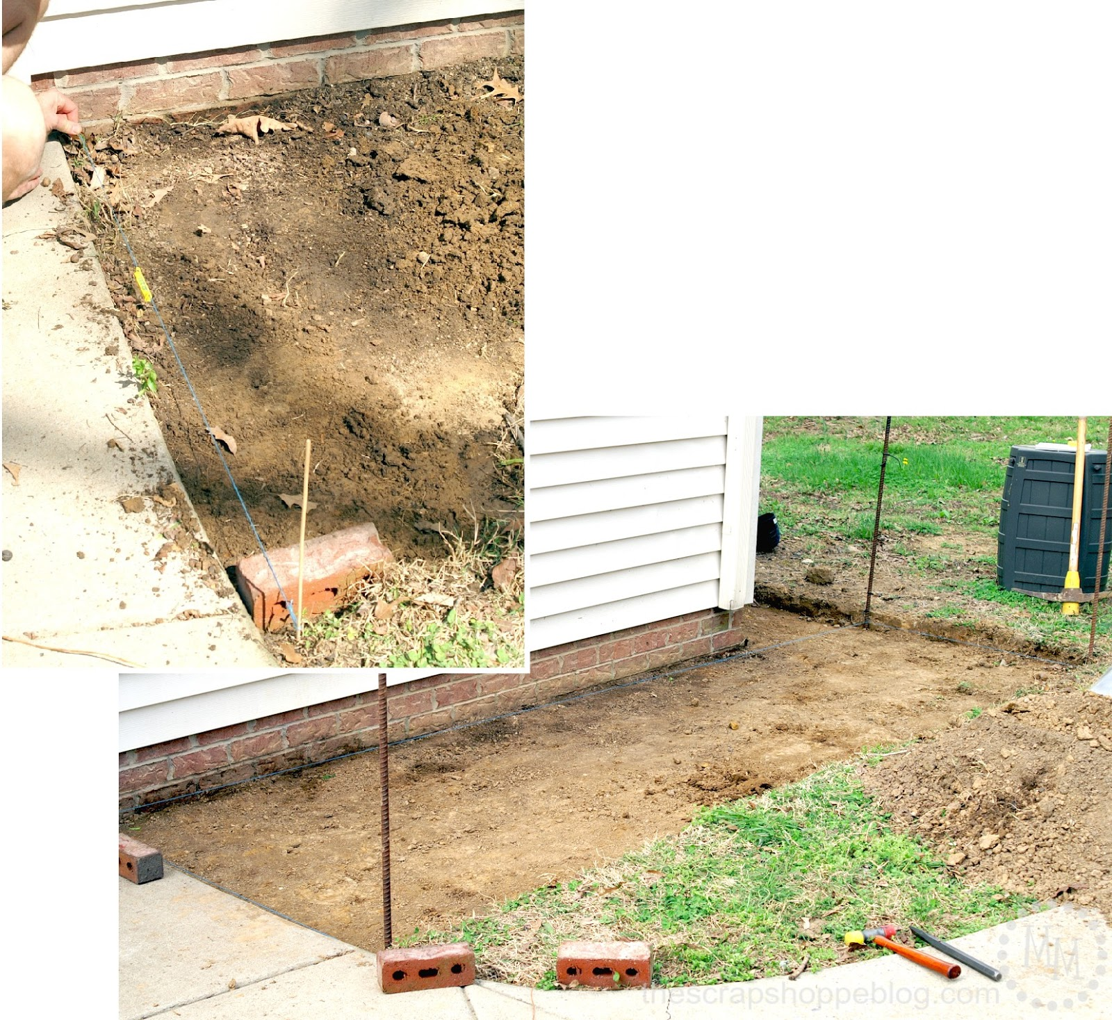 how to build a brick patio - digging out DIY patio