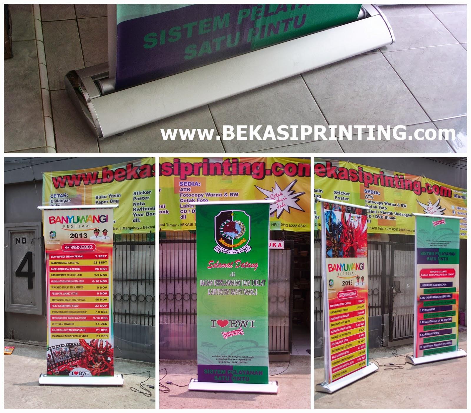Roll Banner Elektrik Standing Hanging Percetakan Bekasi Printing