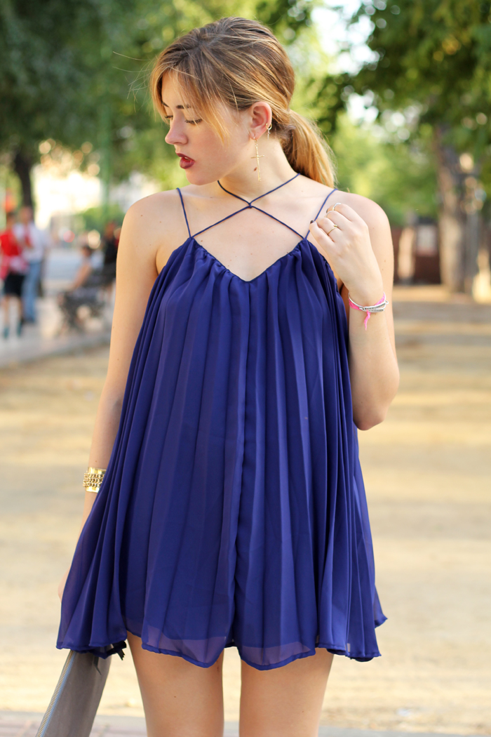 blue pleats mini dress