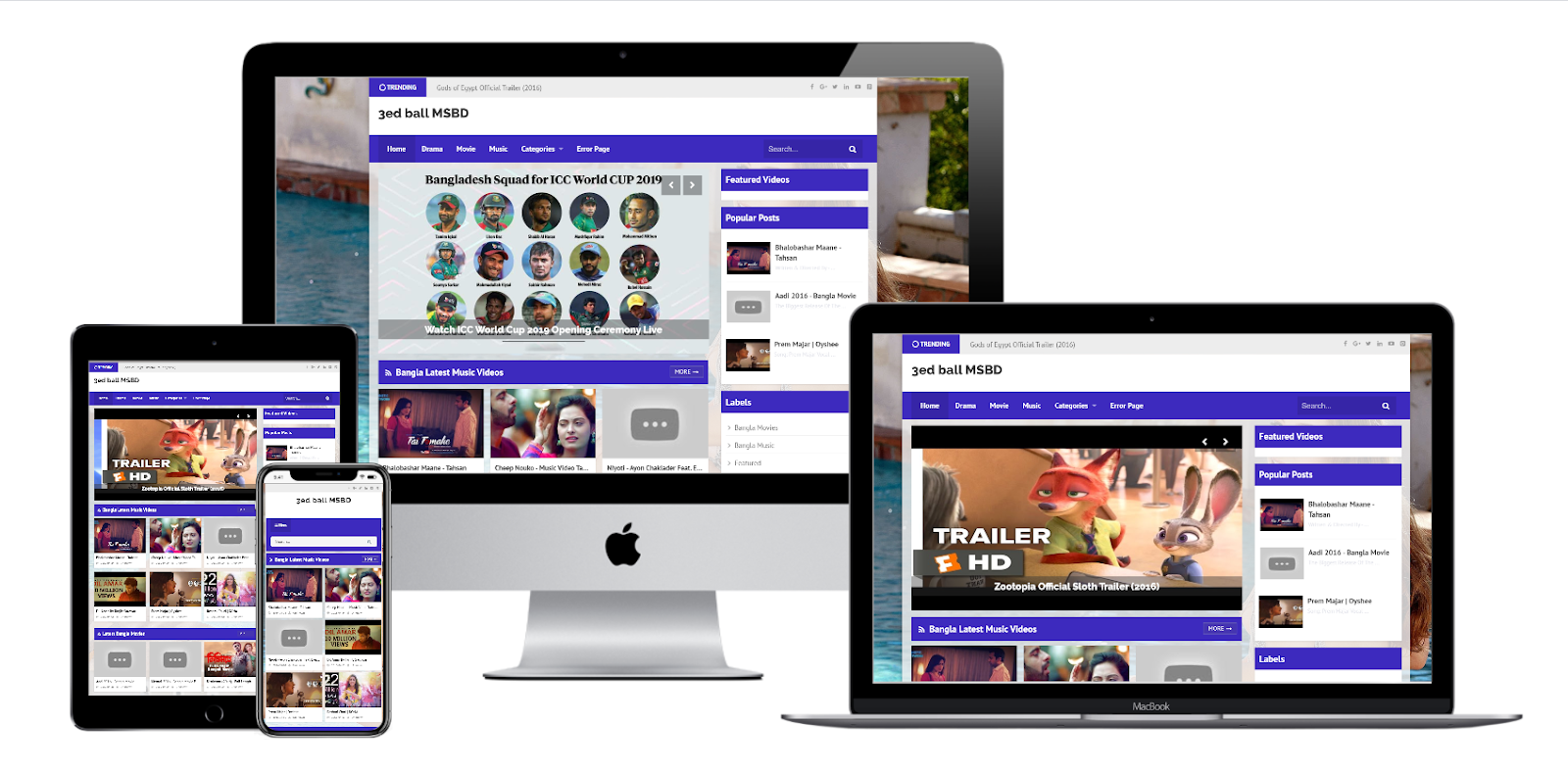 3rdball - Premium Responsive Video Blogger Template