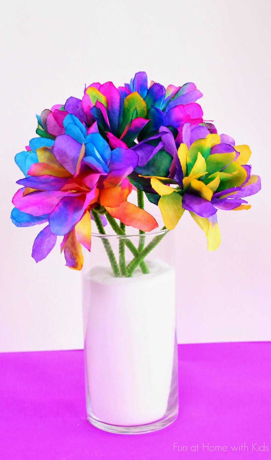 A new technique for making incredibly vibrant and bright coffee filter flowers from Fun at Home with Kids