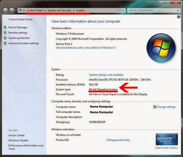 Cara Membedakan Windows 32 bit dan 64 bit - Windows 7