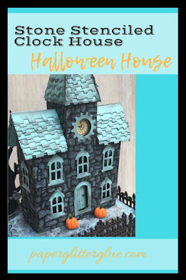 Stone Stenciled Clock House Halloween House Putz house for Halloween decor.