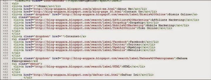 HTML Menu navigasi yang benar