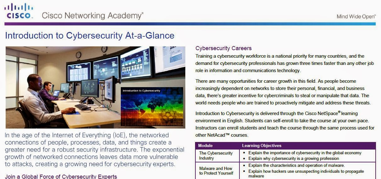 Introduction to Cybersecurity At-a-Glance