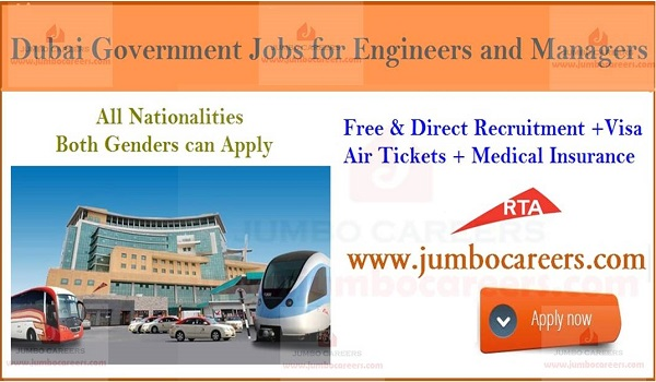 Government job vacancies in Dubai, UAE Hiring engineers and managers,