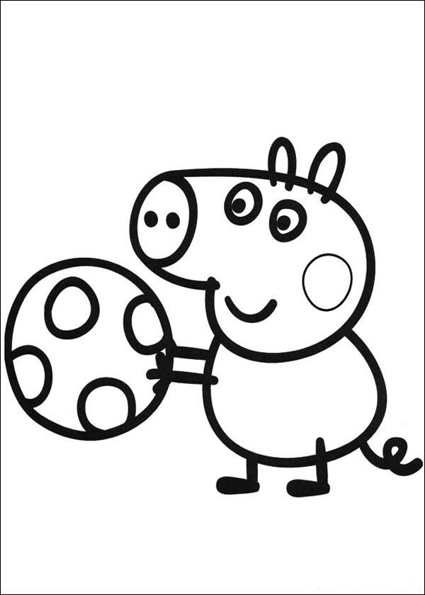 colorear george pig con pelota dibujos para colorear y pintar gratis
