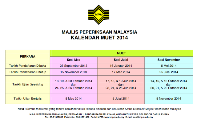 Kalendar MUET 2014 Calendar