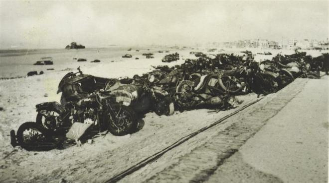 1 June 1940 worldwartwo.filminspector.com Dunkirk motorcycles
