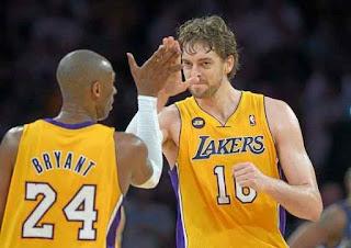 Pau Gasol and Kobe Bryant Los Angeles Lakers