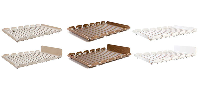 assembly the low profile bed consists of six shaped wood modules that are easily fastened together to build the slatted frame the unobtrusive shape of the